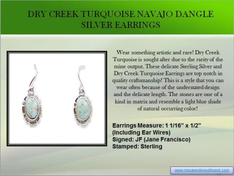 Dry Creek Turquoise Navajo Dangle Silver Earrings by mesaverde1