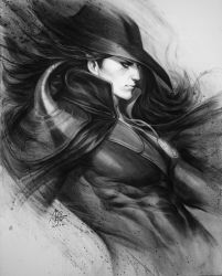 Vampire Hunter D Charcoal Drawing by Artgerm