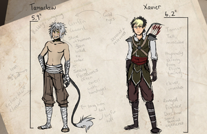 Tamaclaw and  Xavier Sketch Ref by Kexell