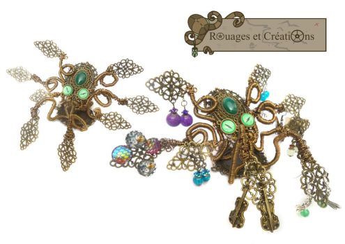 Octopus earrings display by Rouages-et-Creations