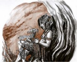 Dryad and Old Fairy Dragon by MikhailD