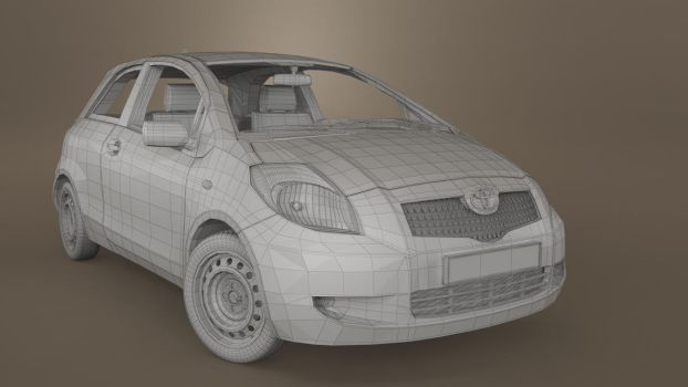 Toyota Yaris 2007 wireframe by 3Dstate
