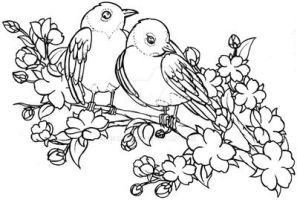 Lovebirds on Cherry Blossom Branch Tattoo by Metacharis