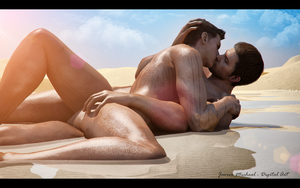 A Kiss  on the Beach by JavierMicheal