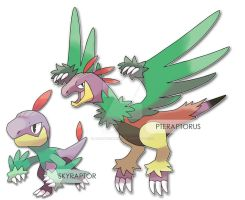 Monthly Prompt 003: New Fakemon: Sky Raptors by AdamFegarido