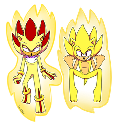 [COMMISSION] Super Sonic and Shadow by GottaGoBlast