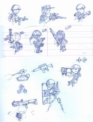 Stick soldier sketches by ferret2honey