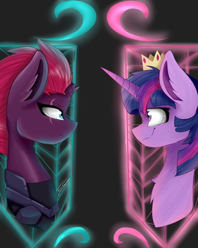Tempest Shadow and Twilight Sparkle by FeatherShine1
