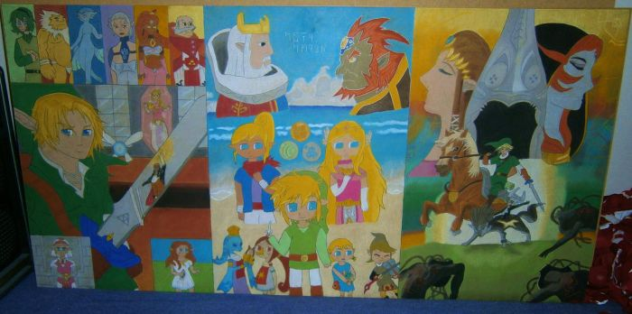 LoZ Chalk Montage The whole Piece by P-Manwag