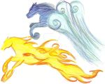 Elemental Horses Drawing One by TexacoPokerKitty