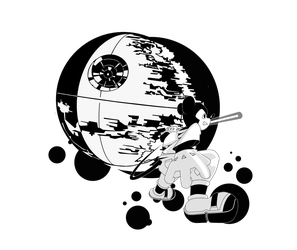 Mickey and the Death Star - Black and White! by dxlucasxb