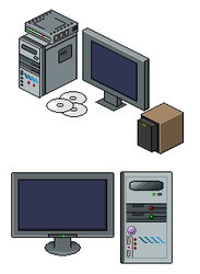 Monitor, computer, modem, CD by Gridysgood