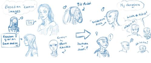 Quarian Face sketches by Advanced-Dorkness