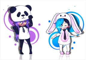YCH | Panda And Bunny | Costumes! by Macchiiato