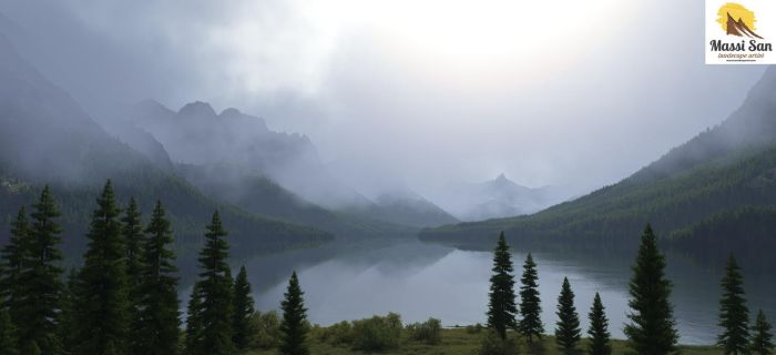 St Mary Lake On A Gray Day Da by Massi-San