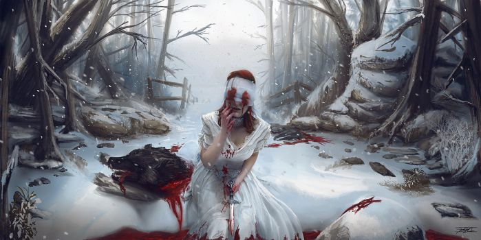Snow rite and the dead wolve. by Hydraw-Art