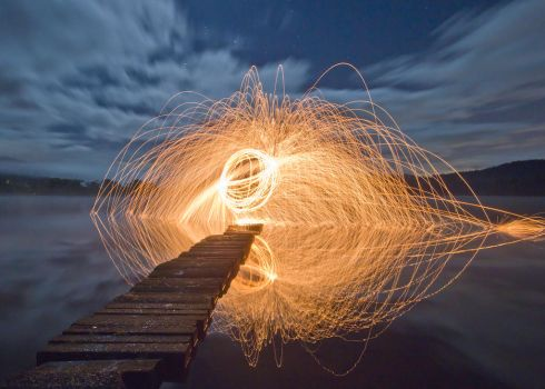 Fire Spinning on Loch Ard by BusterBrownBB