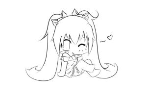 Vocaloid: chibi Miku lineart by peaky-strawberry