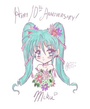 Happy 10th Anniversary, Miku! by shidarezakura