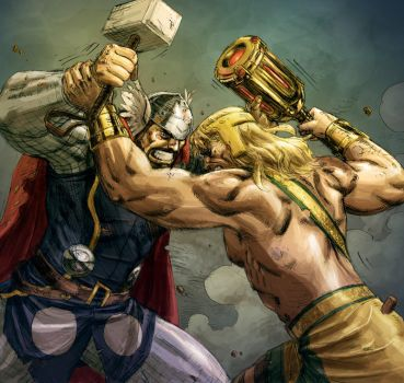 Hercules VS Thor colored by ReillyBrown
