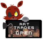 Foxy Art Trades Open Stamp by InkCartoon