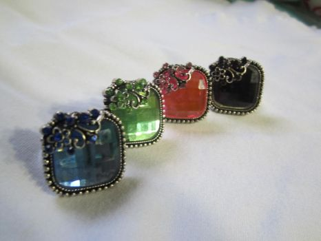 Square Set Rhinestone One-Size-Fits-All Ring by SnowBunnyStudios