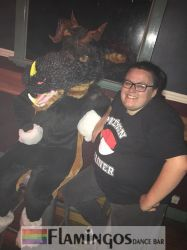 Wearing my fursuit at the gay bar by TheGmodGirl