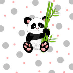 pink panda with bamboo by stockmichelle
