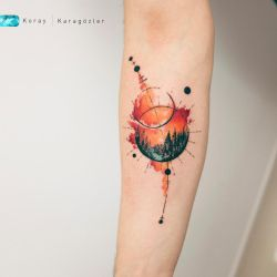 watercolor Sunset Planets by koraykaragozler