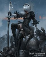 Nier:Automata 2B - fan art by AlbyU