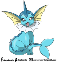 VAPOREON IN MY RECENT DRAWING LINE by Meg4mente