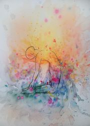 Watercolor Splash Yoga Pose (Series 2 of 4) by TheMajesticCarnival
