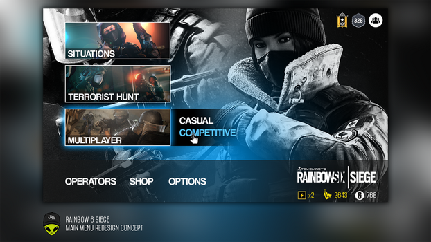 Rainbow Six Siege Menu Redesign Concept by infemeth