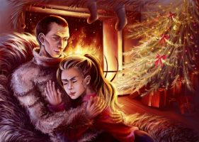 At the fireplace by diable6