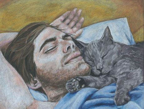 Man and Cat by Evanoch