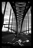 Motorcycle over Harbor Bridge by Raymaker