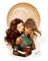 Korra and Asami by Linnpuzzle