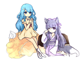 Commission : Luna and Tsubaki by c-louds