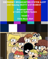 The Loud Family angry at The EBS Child Abuse alert by BuddyBoy600