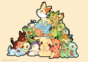 Pokemon: All starters by SeviYummy