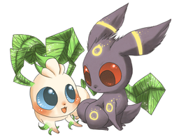 Umbreon and Leafeon by Pace-Eterna