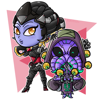Chibi Noire and Cultist by NeonStryker