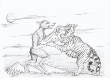 Werewolf vs Tiger by Louisetheanimator