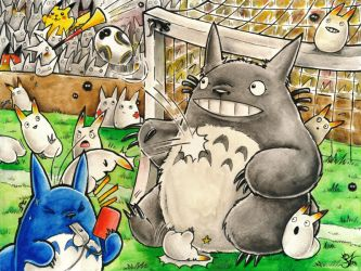 Soccer Chaos with Totoro by Merinid-DE