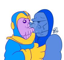 So yeah this happened! THANOS AND DARKSEID by TheCartoonLoon