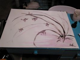 Chinese Brush Painting - Wild Orchids by NinjaObsessed