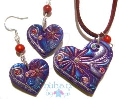 Cloisonne Heart set by colourful-blossom