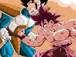 Fight between Goku and Vegeta by Sersiso