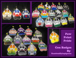 Paw Print Pride - Queer/Mad Furry Con Badges by randomflyingpigeons