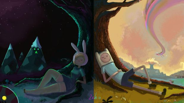 Adventure Time and Broken Age by HairyFood